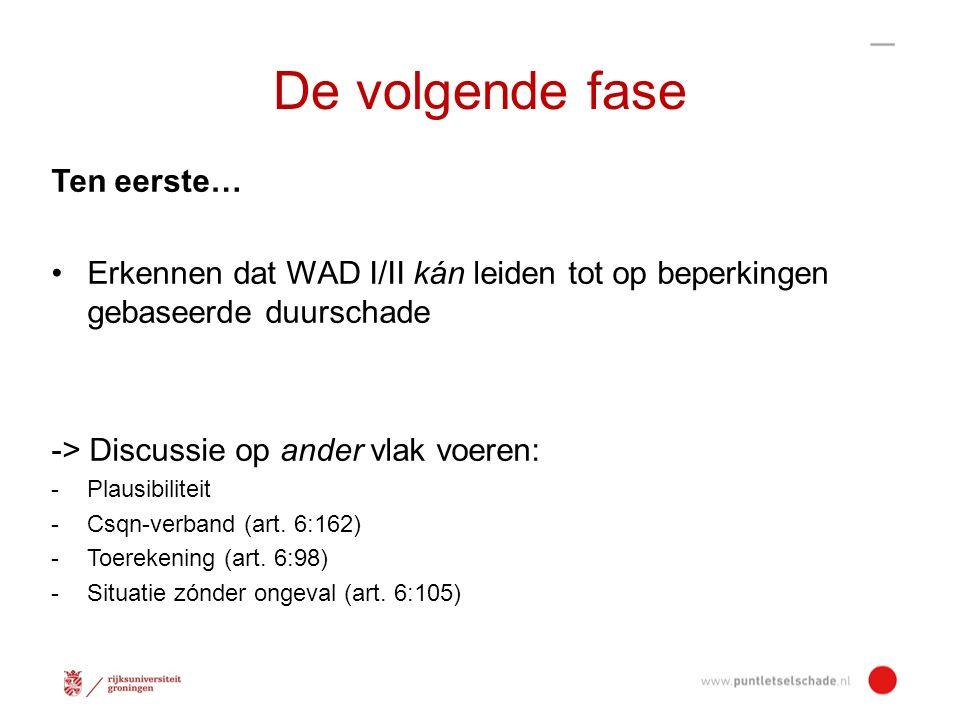 De volgende fase Ten eerste… Erkennen dat WAD I/II kán leiden tot op beperkingen gebaseerde duurschade -> Discussie op ander vlak voeren: -Plausibiliteit -Csqn-verband (art.