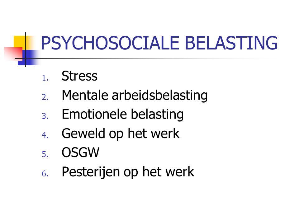 PSYCHOSOCIALE BELASTING 1. Stress 2. Mentale arbeidsbelasting 3.