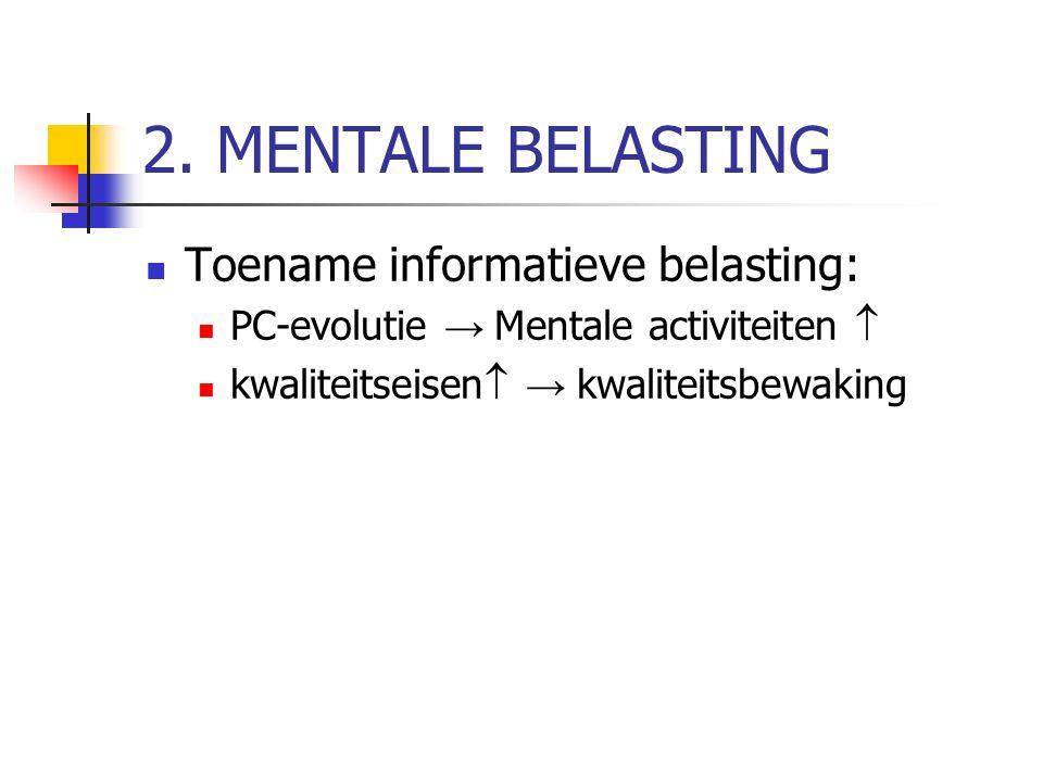 2. MENTALE BELASTING Toename informatieve belasting: PC-evolutie → Mentale activiteiten  kwaliteitseisen  → kwaliteitsbewaking