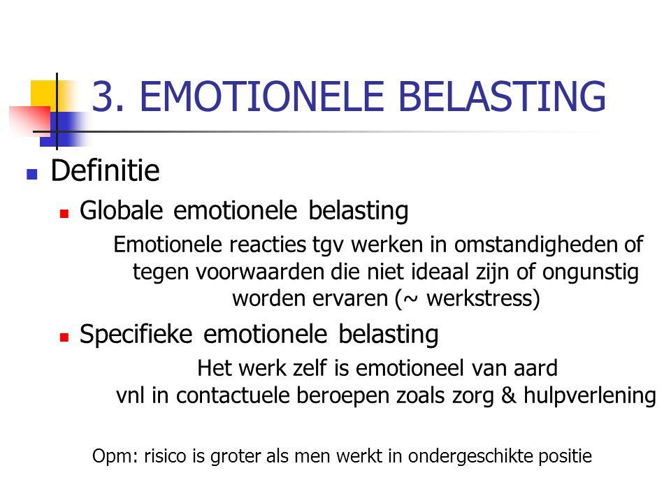 3. EMOTIONELE BELASTING Definitie Globale emotionele belasting Emotionele reacties tgv werken in omstandigheden of tegen voorwaarden die niet ideaal z