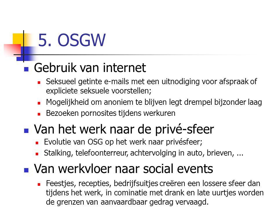 5. OSGW Gebruik van internet Seksueel getinte e-mails met een uitnodiging voor afspraak of expliciete seksuele voorstellen; Mogelijkheid om anoniem te