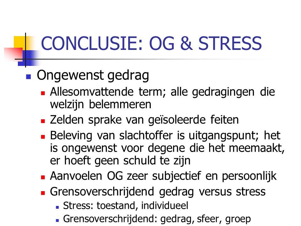 CONCLUSIE: OG & STRESS Ongewenst gedrag Allesomvattende term; alle gedragingen die welzijn belemmeren Zelden sprake van geïsoleerde feiten Beleving van slachtoffer is uitgangspunt; het is ongewenst voor degene die het meemaakt, er hoeft geen schuld te zijn Aanvoelen OG zeer subjectief en persoonlijk Grensoverschrijdend gedrag versus stress Stress: toestand, individueel Grensoverschrijdend: gedrag, sfeer, groep