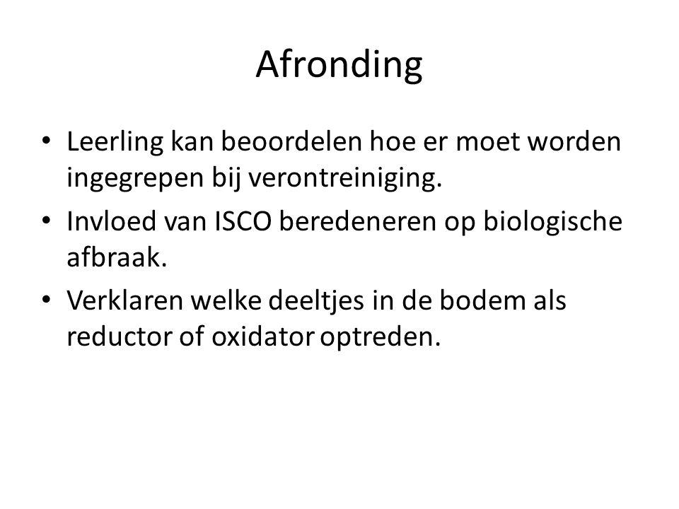 Afronding Leerling kan beoordelen hoe er moet worden ingegrepen bij verontreiniging.