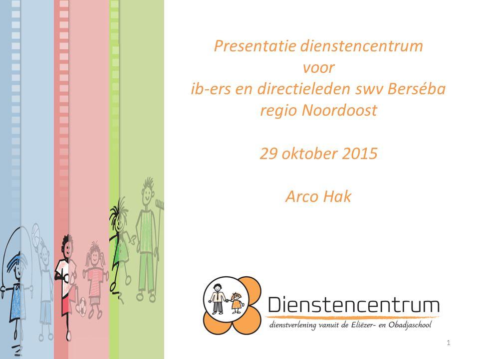 Presentatie dienstencentrum voor ib-ers en directieleden swv Berséba regio Noordoost 29 oktober 2015 Arco Hak 1