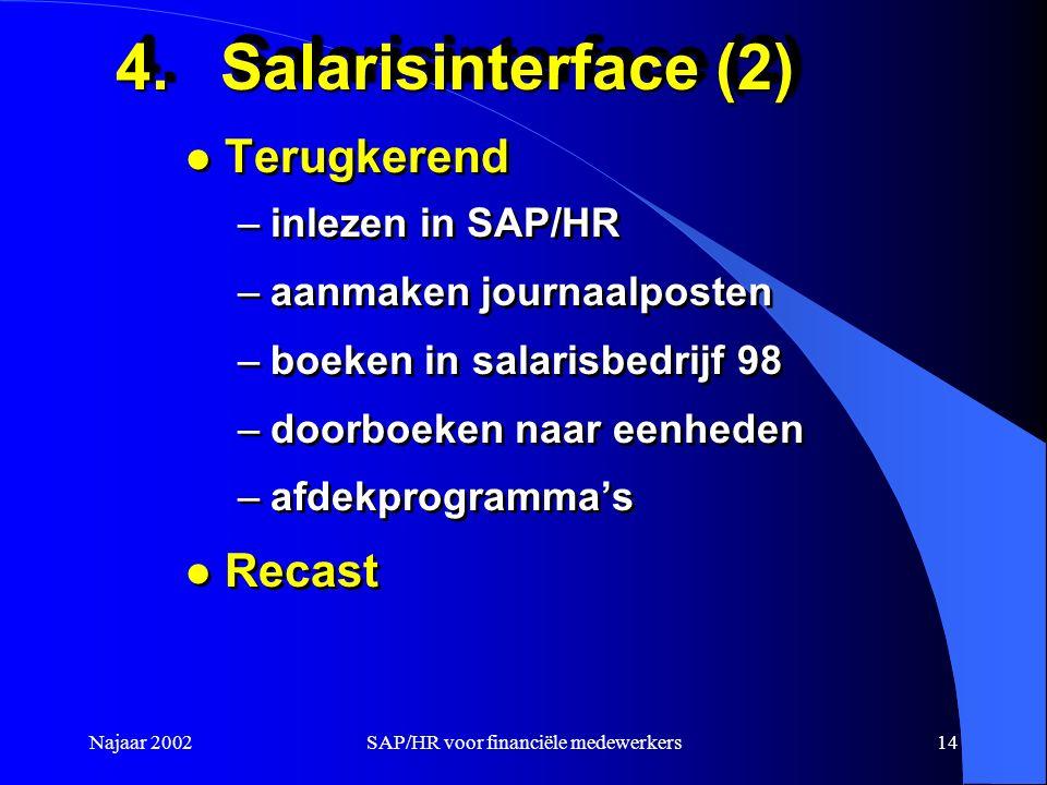 Najaar 2002SAP/HR voor financiële medewerkers14 4.Salarisinterface (2) l Terugkerend –inlezen in SAP/HR –aanmaken journaalposten –boeken in salarisbedrijf 98 –doorboeken naar eenheden –afdekprogramma's l Recast l Terugkerend –inlezen in SAP/HR –aanmaken journaalposten –boeken in salarisbedrijf 98 –doorboeken naar eenheden –afdekprogramma's l Recast