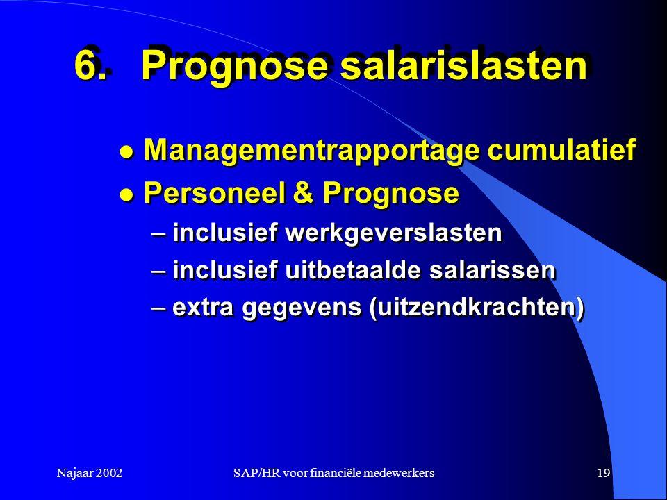 Najaar 2002SAP/HR voor financiële medewerkers19 6.Prognose salarislasten l Managementrapportage cumulatief l Personeel & Prognose –inclusief werkgever