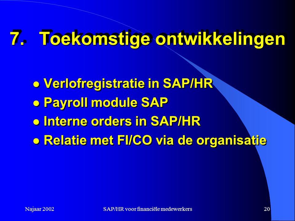 Najaar 2002SAP/HR voor financiële medewerkers20 7.Toekomstige ontwikkelingen l Verlofregistratie in SAP/HR l Payroll module SAP l Interne orders in SAP/HR l Relatie met FI/CO via de organisatie l Verlofregistratie in SAP/HR l Payroll module SAP l Interne orders in SAP/HR l Relatie met FI/CO via de organisatie