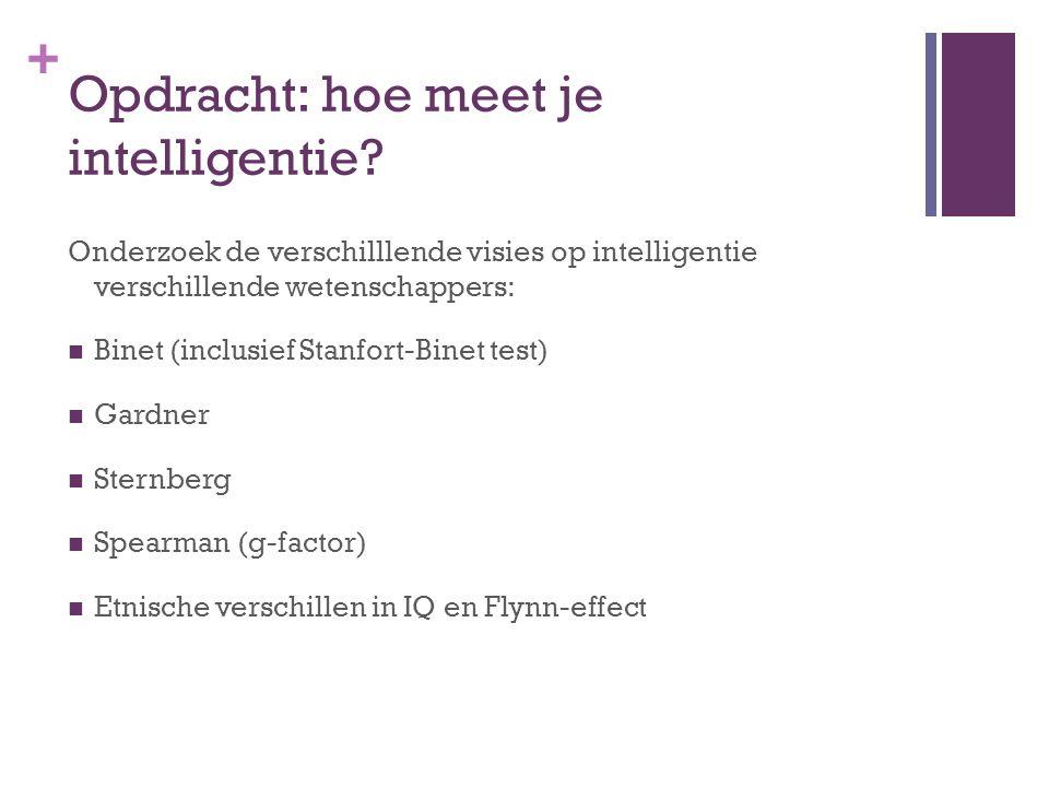 + Opdracht: hoe meet je intelligentie? Onderzoek de verschilllende visies op intelligentie verschillende wetenschappers: Binet (inclusief Stanfort-Bin