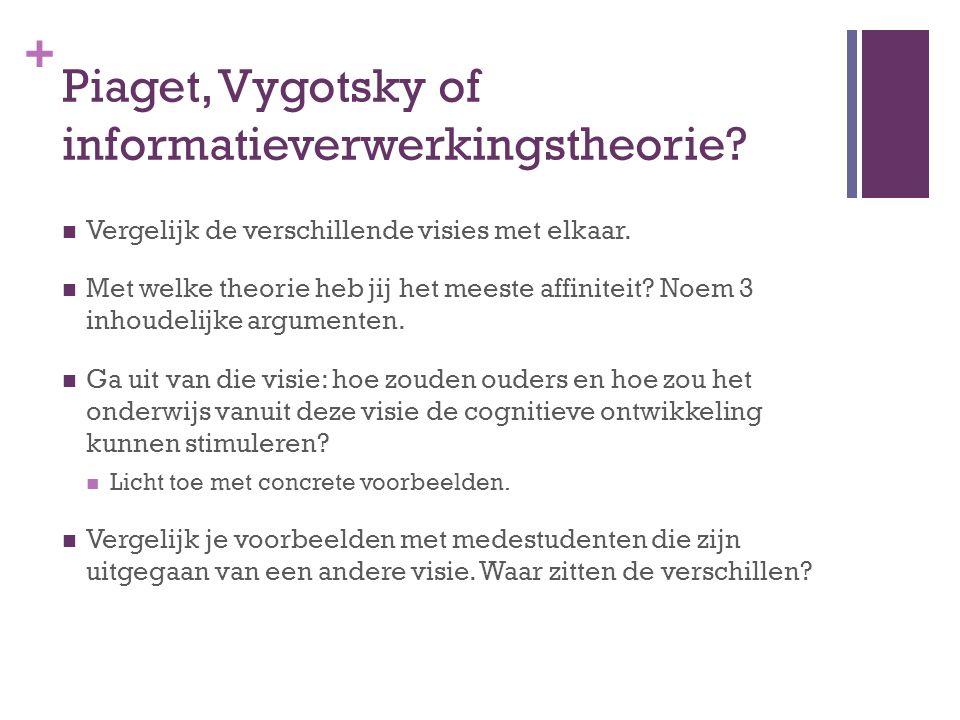 + Piaget, Vygotsky of informatieverwerkingstheorie? Vergelijk de verschillende visies met elkaar. Met welke theorie heb jij het meeste affiniteit? Noe