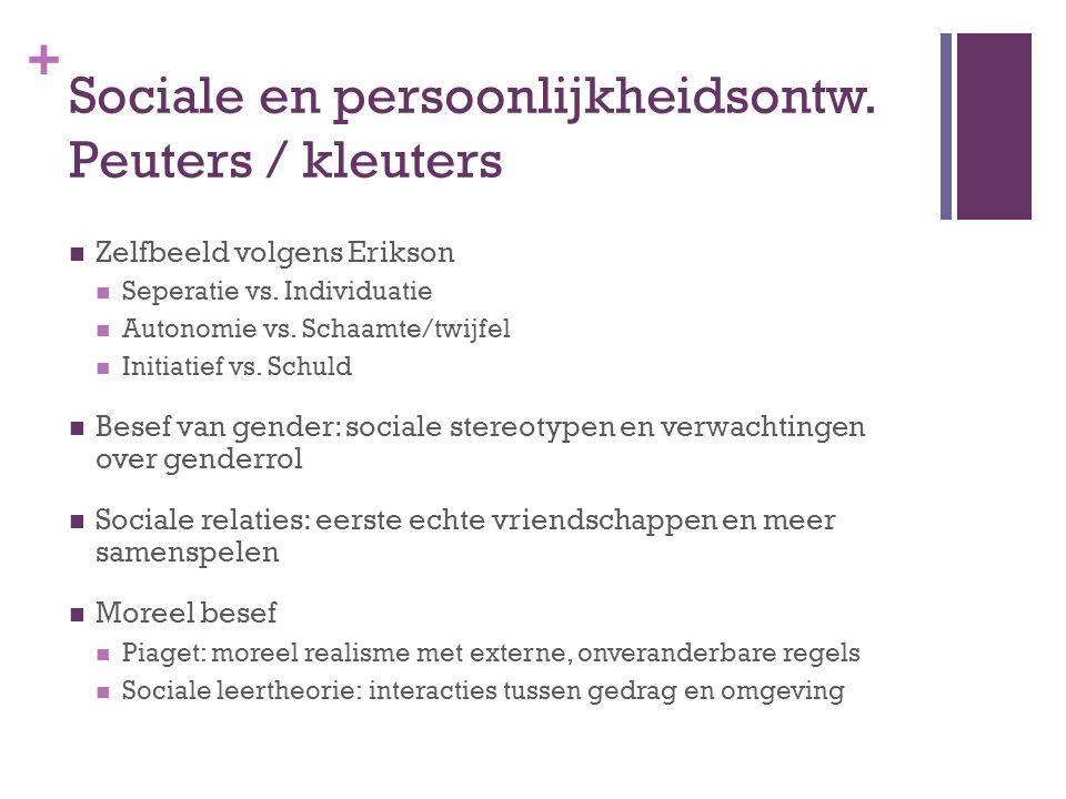 + Sociale en persoonlijkheidsontw. Peuters / kleuters Zelfbeeld volgens Erikson Seperatie vs. Individuatie Autonomie vs. Schaamte/twijfel Initiatief v