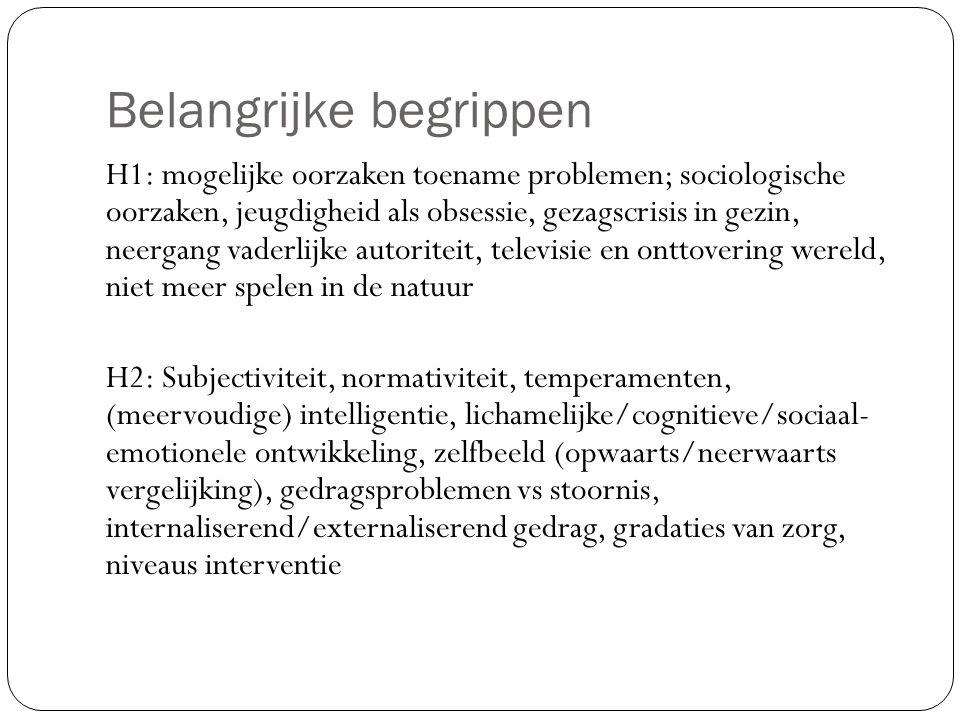 Belangrijke begrippen H1: mogelijke oorzaken toename problemen; sociologische oorzaken, jeugdigheid als obsessie, gezagscrisis in gezin, neergang vaderlijke autoriteit, televisie en onttovering wereld, niet meer spelen in de natuur H2: Subjectiviteit, normativiteit, temperamenten, (meervoudige) intelligentie, lichamelijke/cognitieve/sociaal- emotionele ontwikkeling, zelfbeeld (opwaarts/neerwaarts vergelijking), gedragsproblemen vs stoornis, internaliserend/externaliserend gedrag, gradaties van zorg, niveaus interventie