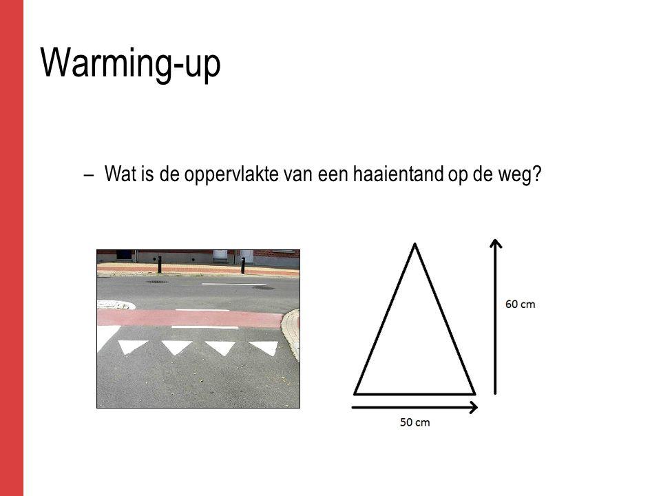 Warming-up –Wat is de oppervlakte van een haaientand op de weg?