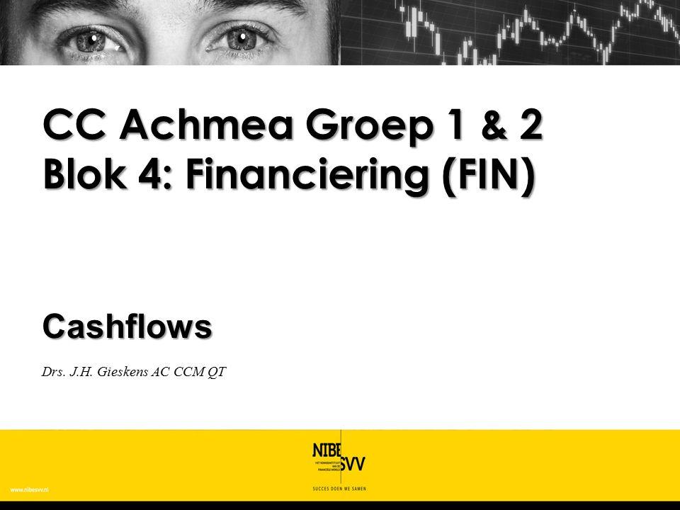 Cashflows Drs. J.H. Gieskens AC CCM QT CC Achmea Groep 1 & 2 Blok 4: Financiering (FIN)