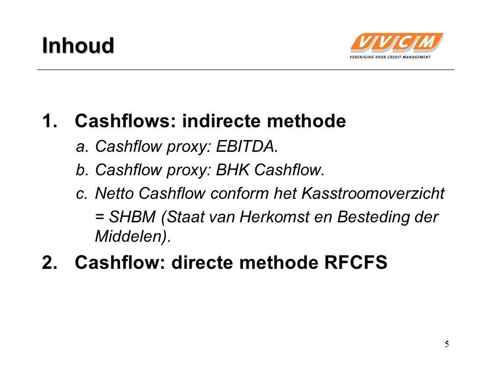 5 Inhoud 1.Cashflows: indirecte methode a.Cashflow proxy: EBITDA. b.Cashflow proxy: BHK Cashflow. c.Netto Cashflow conform het Kasstroomoverzicht = SH