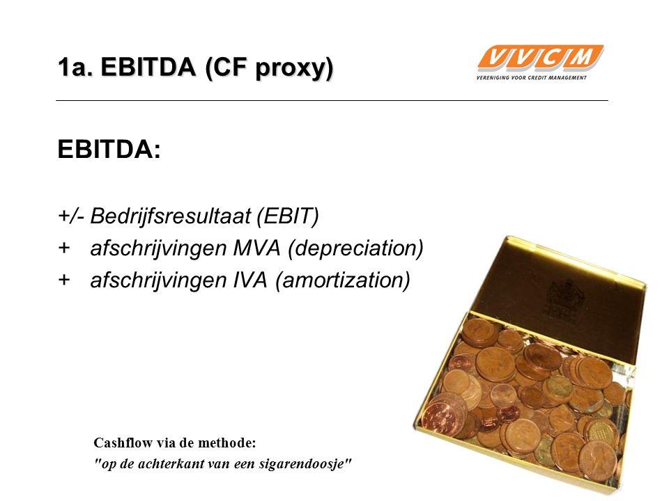 7 1a. EBITDA (CF proxy) EBITDA: +/-Bedrijfsresultaat (EBIT) +afschrijvingen MVA (depreciation) + afschrijvingen IVA (amortization) Cashflow via de met