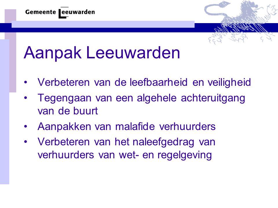 Aanpak Leeuwarden Verbeteren van de leefbaarheid en veiligheid Tegengaan van een algehele achteruitgang van de buurt Aanpakken van malafide verhuurders Verbeteren van het naleefgedrag van verhuurders van wet- en regelgeving