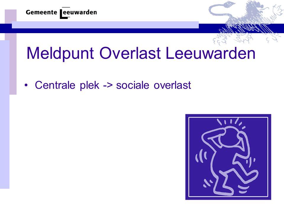 Meldpunt Overlast Leeuwarden Centrale plek -> sociale overlast