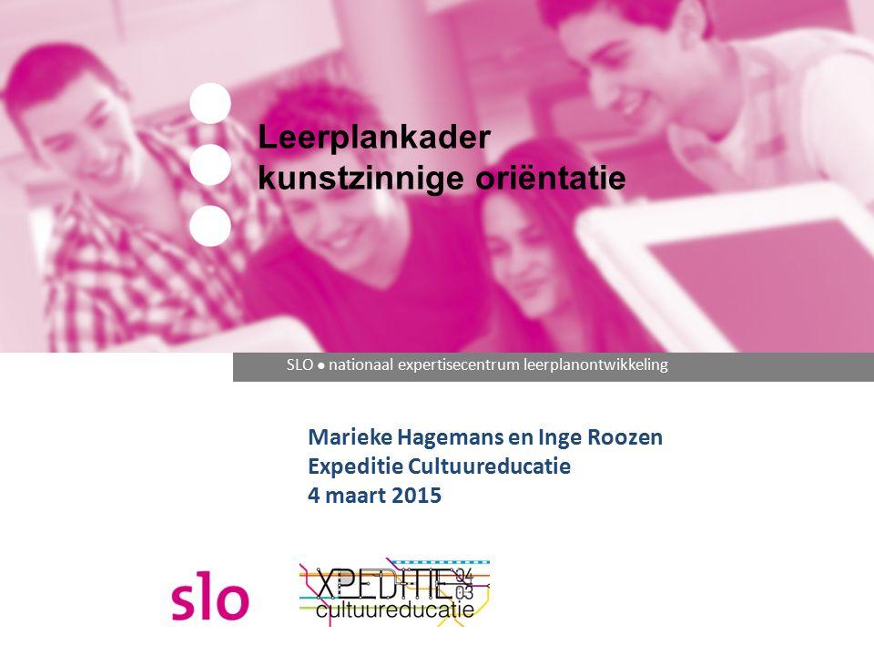 SLO ● nationaal expertisecentrum leerplanontwikkeling Leerplankader kunstzinnige oriëntatie Marieke Hagemans en Inge Roozen Expeditie Cultuureducatie