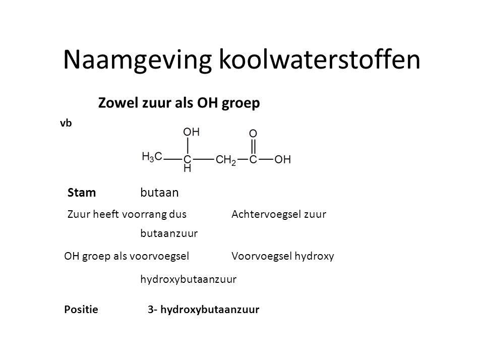 Naamgeving koolwaterstoffen Zowel zuur als OH groep vb hydroxybutaanzuur Positie3- hydroxybutaanzuur Zuur heeft voorrang dusAchtervoegsel zuur OH groe