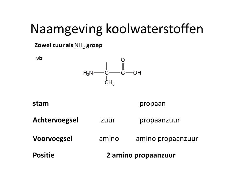 Naamgeving koolwaterstoffen Zowel zuur als NH 2 groep vbvb stam propaan Achtervoegselzuur propaanzuur Voorvoegselaminoamino propaanzuur Positie2 amino