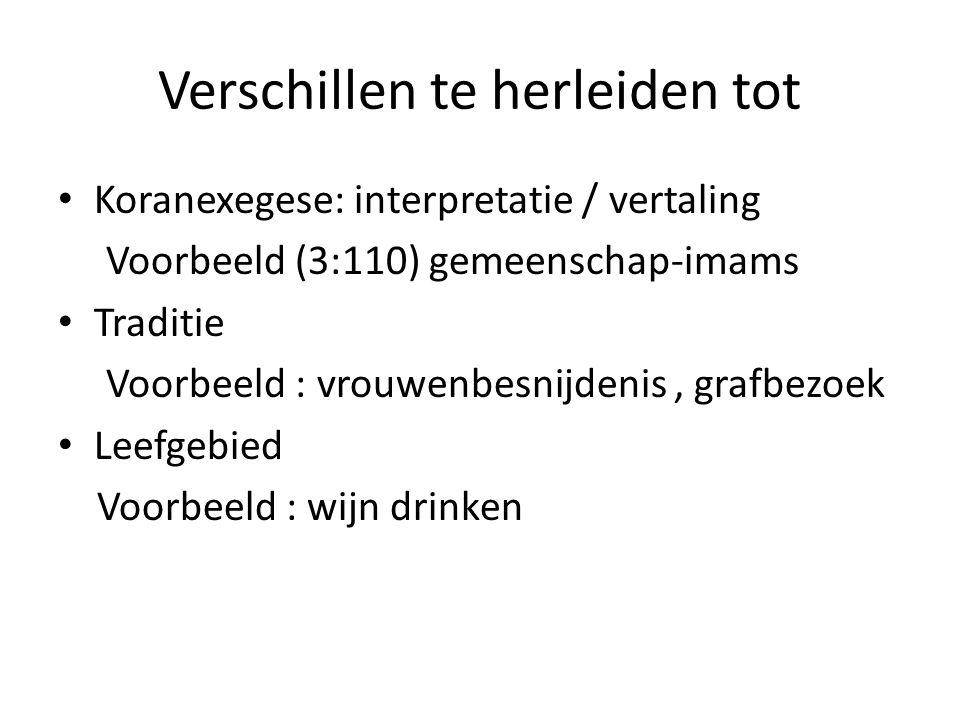 Verschillen te herleiden tot Koranexegese: interpretatie / vertaling Voorbeeld (3:110) gemeenschap-imams Traditie Voorbeeld : vrouwenbesnijdenis, graf