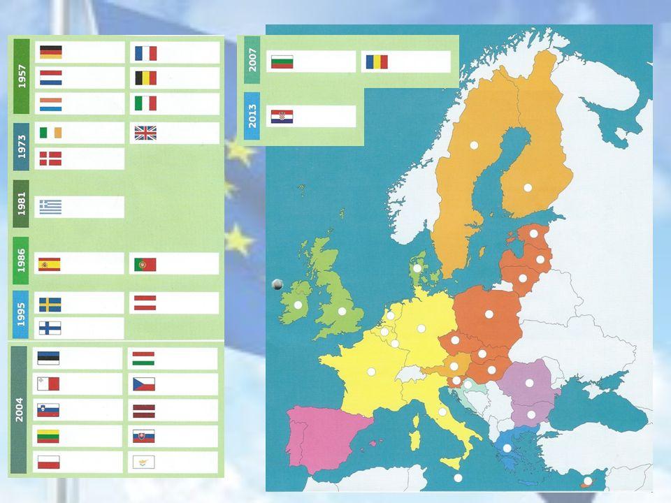 VERDERE UITBREIDING 1995 : Oostenrijk, Finland en Zweden 2004 : 10 nieuwe landen Polen, Letland, Litouwen, Estland, Slowakije, Tsjechië, Slovenië, Hongarije, Malta en Cyprus.