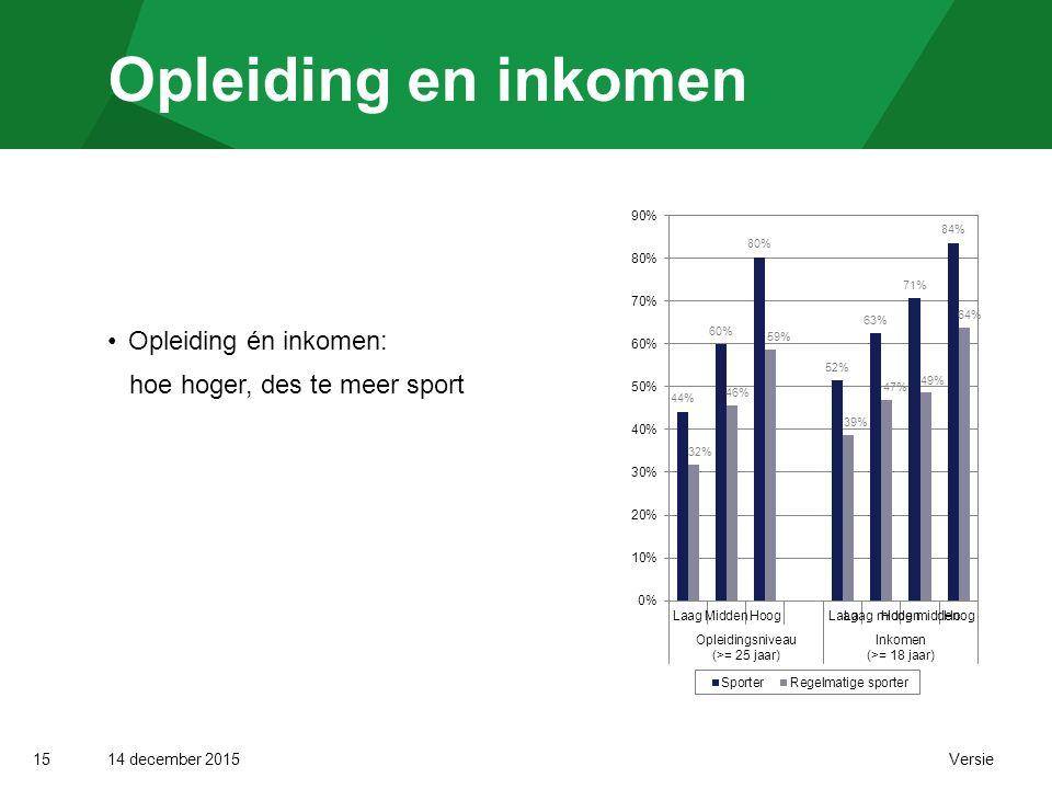 14 december 2015 Versie Opleiding en inkomen 15 Opleiding én inkomen: hoe hoger, des te meer sport