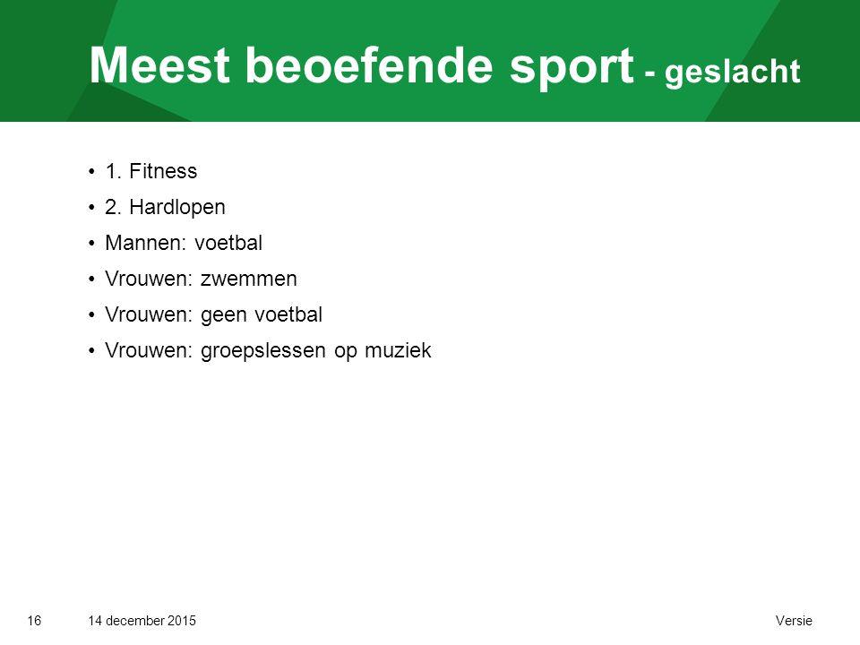 14 december 2015 Versie Meest beoefende sport - geslacht 16 1.