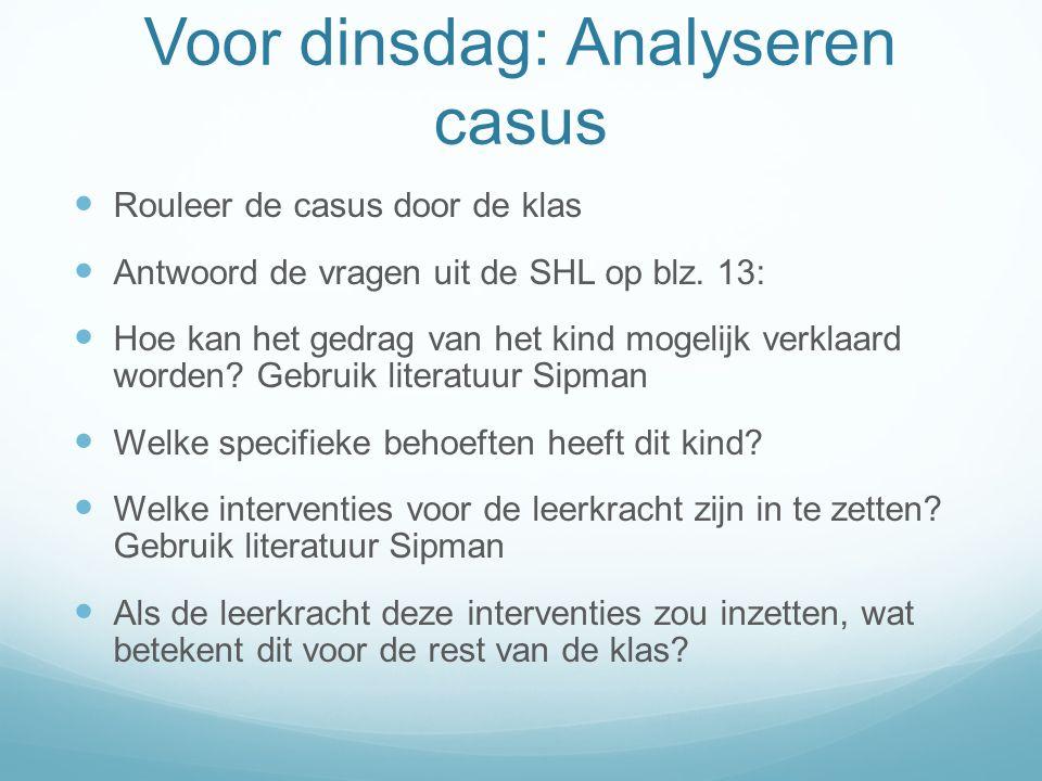Voor dinsdag: Analyseren casus Rouleer de casus door de klas Antwoord de vragen uit de SHL op blz.