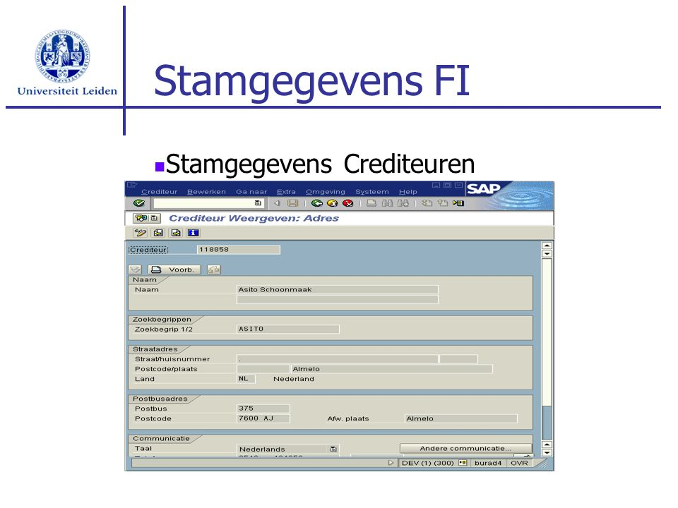 Stamgegevens FI Stamgegevens Crediteuren