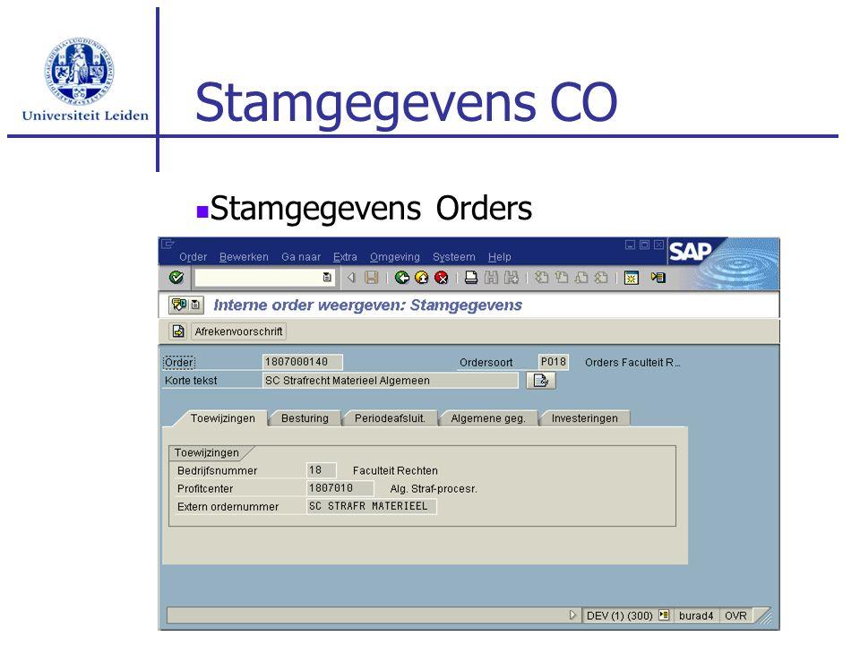 Stamgegevens CO Stamgegevens Orders
