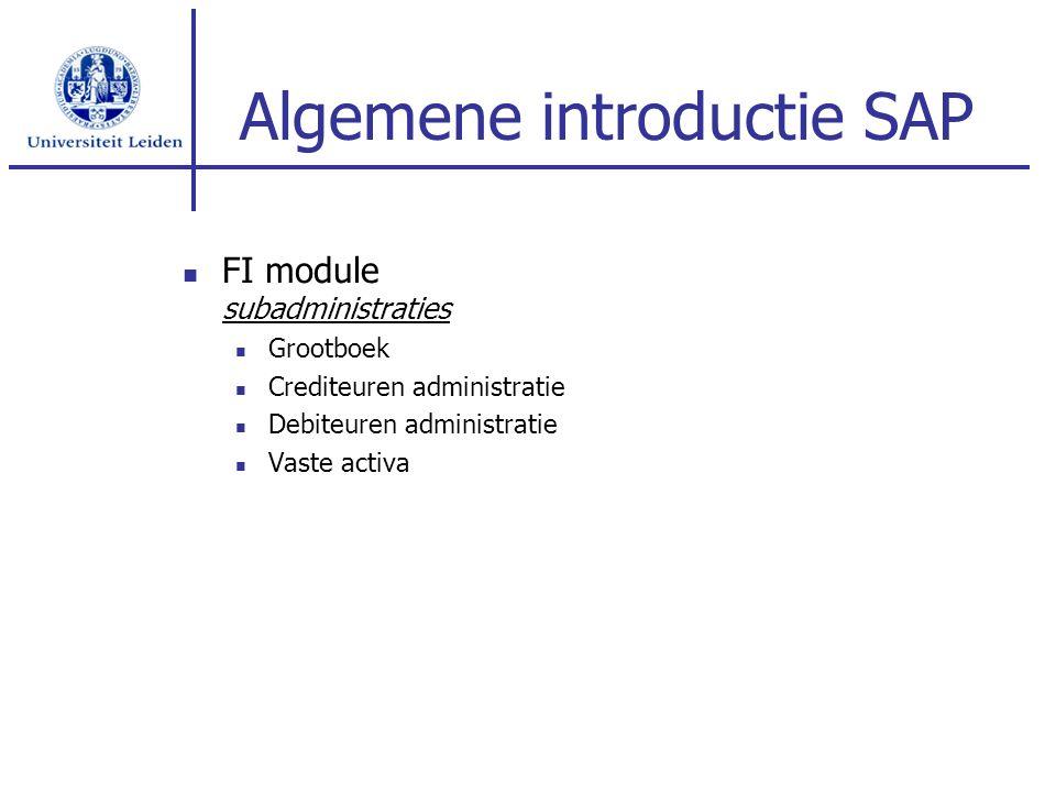 FI module subadministraties Grootboek Crediteuren administratie Debiteuren administratie Vaste activa