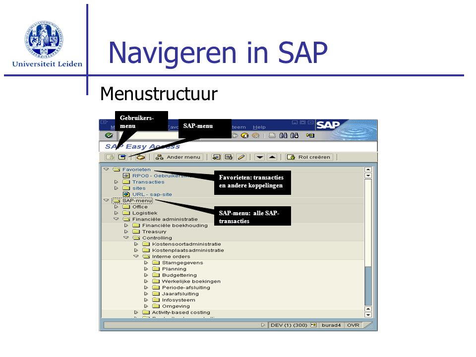 Navigeren in SAP Menustructuur Gebruikers- menu SAP-menu Favorieten: transacties en andere koppelingen SAP-menu: alle SAP- transacties