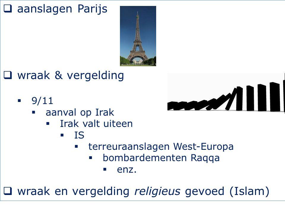  aanslagen Parijs  wraak & vergelding  9/11  aanval op Irak  Irak valt uiteen  IS  terreuraanslagen West-Europa  bombardementen Raqqa  enz.