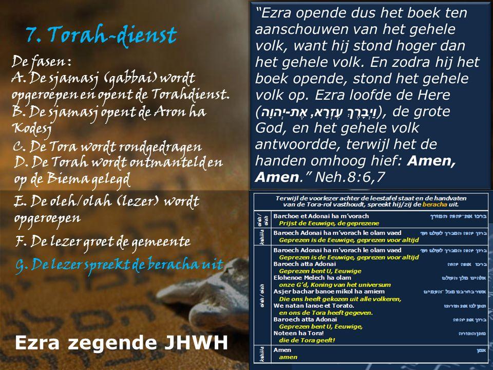 7. Torah-dienst De fasen : A. De sjamasj (gabbai)wordt opgeroepen en opent de Torahdienst.