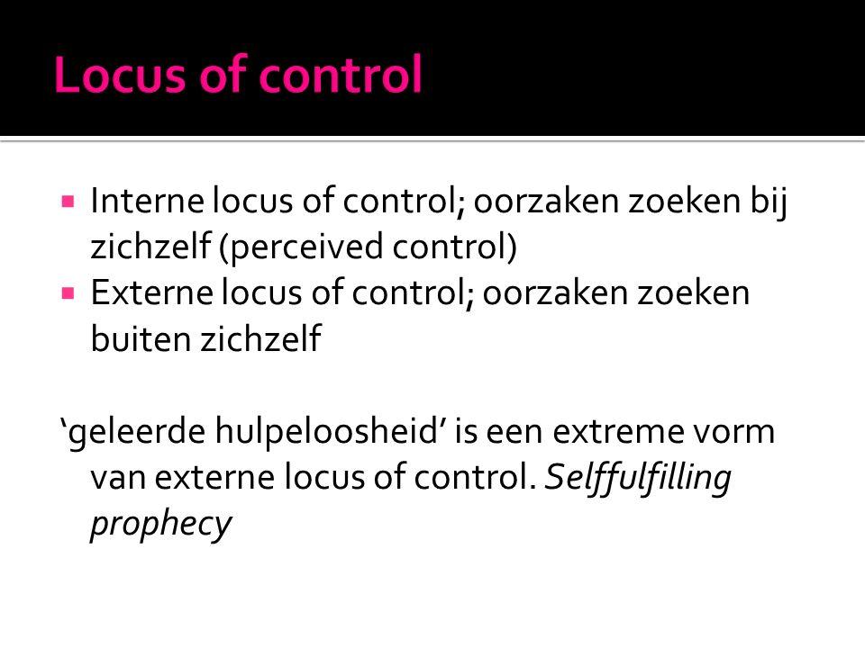 Interne locus of control; oorzaken zoeken bij zichzelf (perceived control)  Externe locus of control; oorzaken zoeken buiten zichzelf 'geleerde hulpeloosheid' is een extreme vorm van externe locus of control.