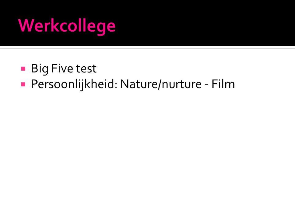  Big Five test  Persoonlijkheid: Nature/nurture - Film