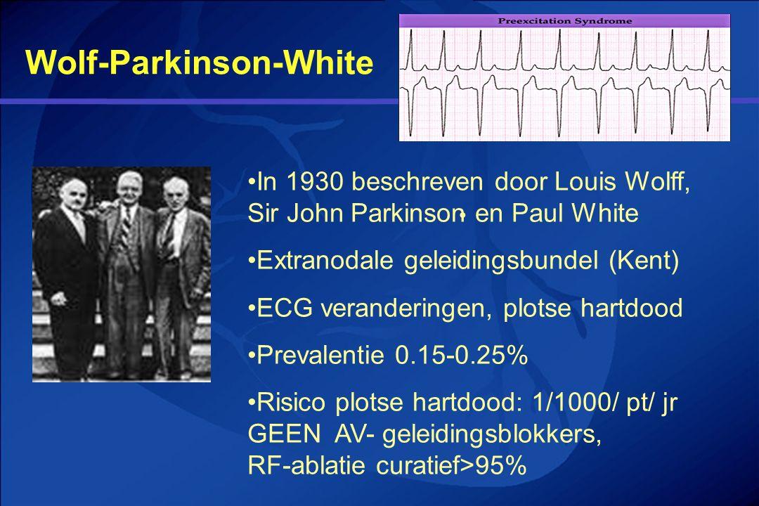 Wolf-Parkinson-White In 1930 beschreven door Louis Wolff, Sir John Parkinson en Paul White Extranodale geleidingsbundel (Kent) ECG veranderingen, plot