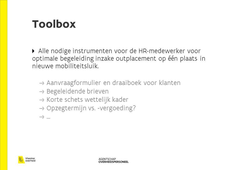 Toolbox Alle nodige instrumenten voor de HR-medewerker voor optimale begeleiding inzake outplacement op één plaats in nieuwe mobiliteitsluik. Aanvraag