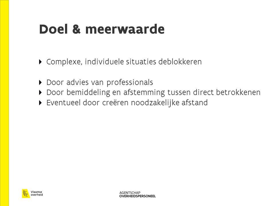 Doel & meerwaarde Complexe, individuele situaties deblokkeren Door advies van professionals Door bemiddeling en afstemming tussen direct betrokkenen E