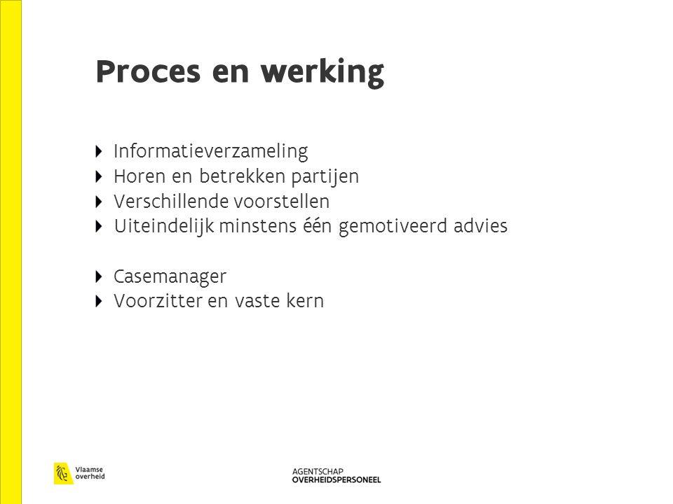 Proces en werking Informatieverzameling Horen en betrekken partijen Verschillende voorstellen Uiteindelijk minstens één gemotiveerd advies Casemanager