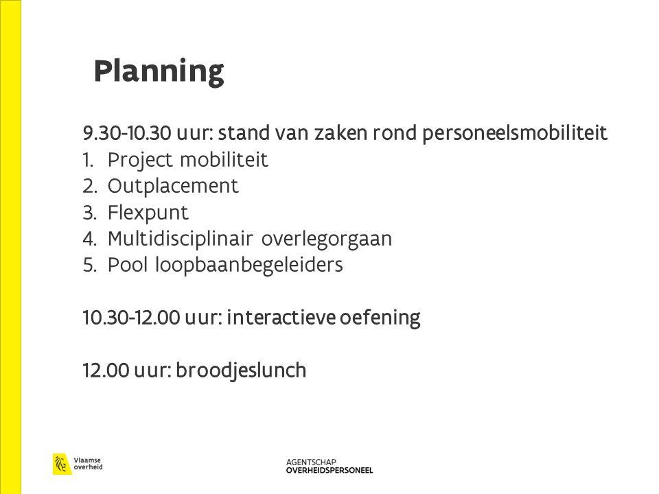 Planning 9.30-10.30 uur: stand van zaken rond personeelsmobiliteit 1. Project mobiliteit 2. Outplacement 3. Flexpunt 4. Multidisciplinair overlegorgaa