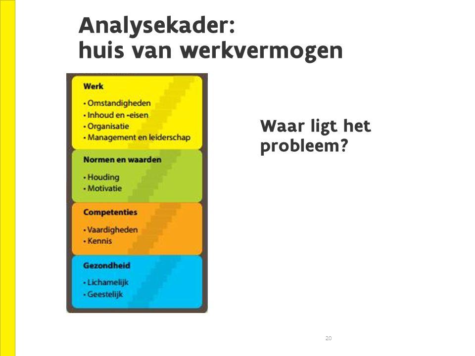 Analysekader: huis van werkvermogen 20 Waar ligt het probleem?