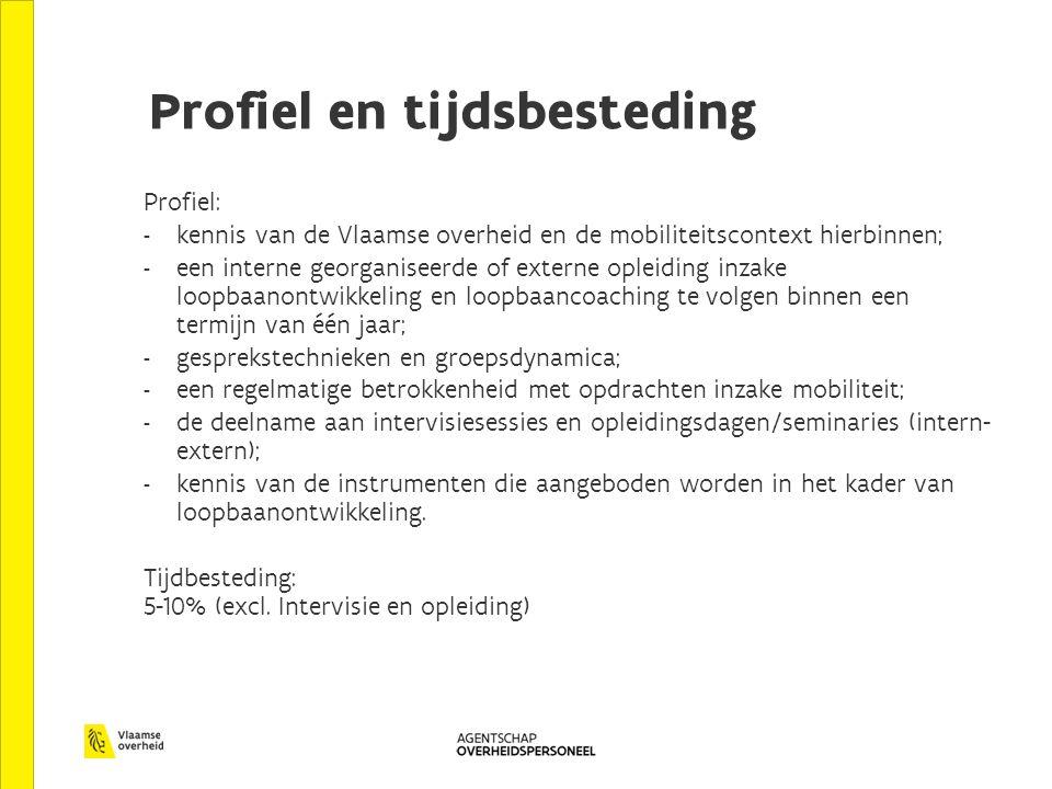 Profiel en tijdsbesteding Profiel: - kennis van de Vlaamse overheid en de mobiliteitscontext hierbinnen; - een interne georganiseerde of externe oplei