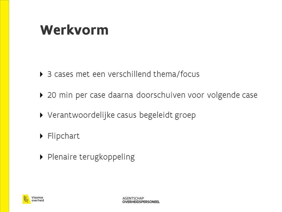 Werkvorm 3 cases met een verschillend thema/focus 20 min per case daarna doorschuiven voor volgende case Verantwoordelijke casus begeleidt groep Flipc