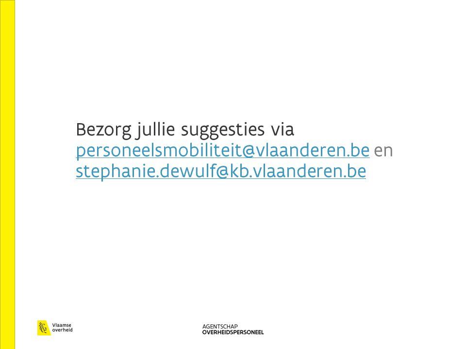Bezorg jullie suggesties via personeelsmobiliteit@vlaanderen.be en stephanie.dewulf@kb.vlaanderen.be personeelsmobiliteit@vlaanderen.be stephanie.dewu