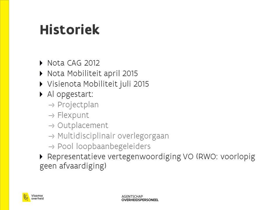 Historiek Nota CAG 2012 Nota Mobiliteit april 2015 Visienota Mobiliteit juli 2015 Al opgestart: Projectplan Flexpunt Outplacement Multidisciplinair ov