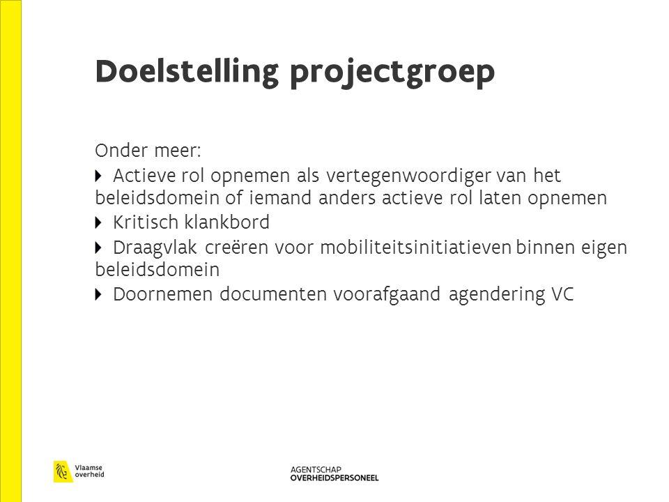 Doelstelling projectgroep Onder meer: Actieve rol opnemen als vertegenwoordiger van het beleidsdomein of iemand anders actieve rol laten opnemen Kriti