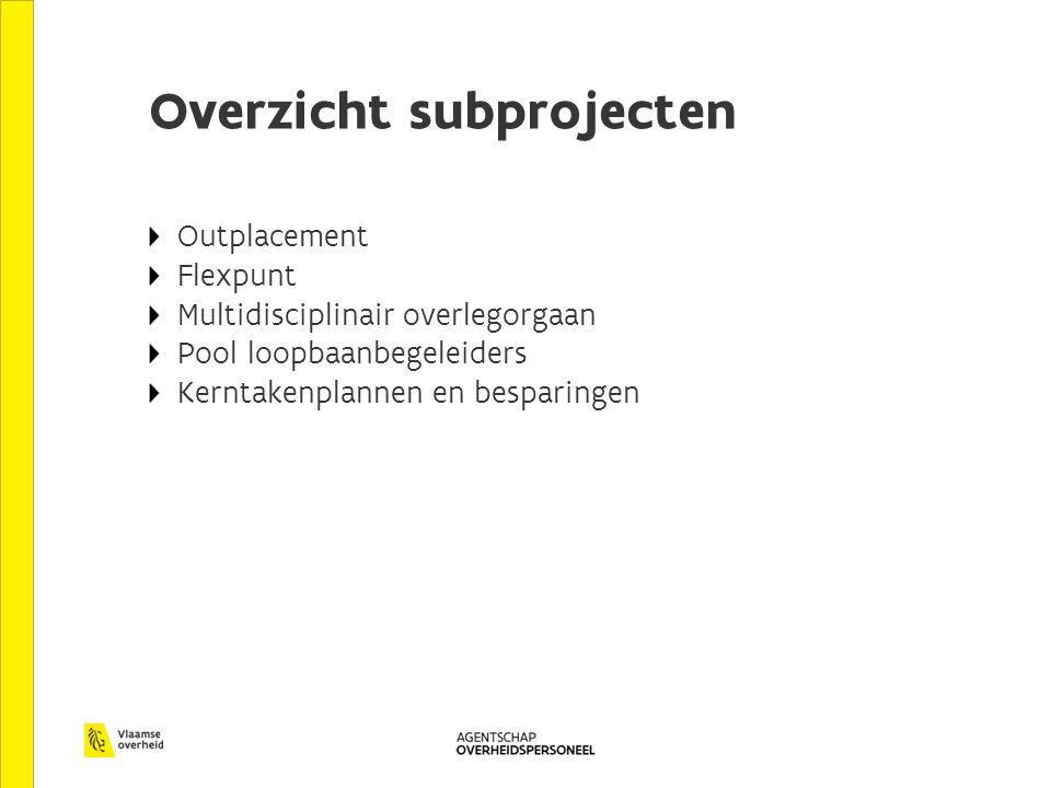 Overzicht subprojecten Outplacement Flexpunt Multidisciplinair overlegorgaan Pool loopbaanbegeleiders Kerntakenplannen en besparingen