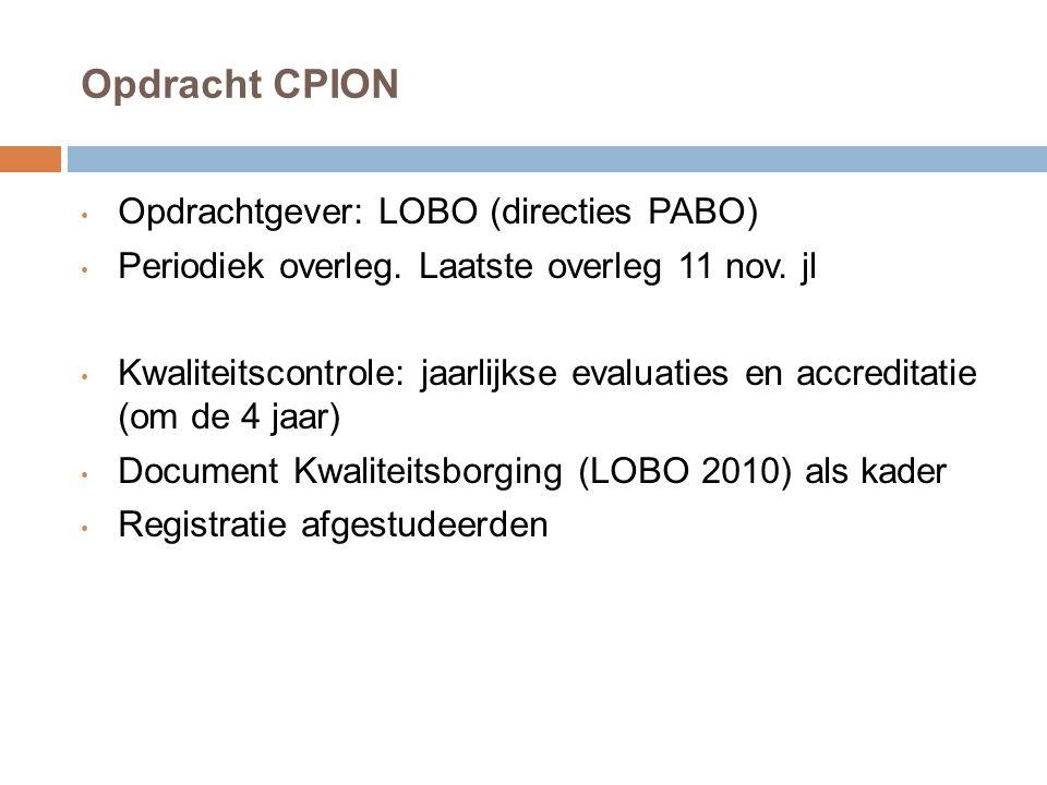 Opdracht CPION Opdrachtgever: LOBO (directies PABO) Periodiek overleg. Laatste overleg 11 nov. jl Kwaliteitscontrole: jaarlijkse evaluaties en accredi
